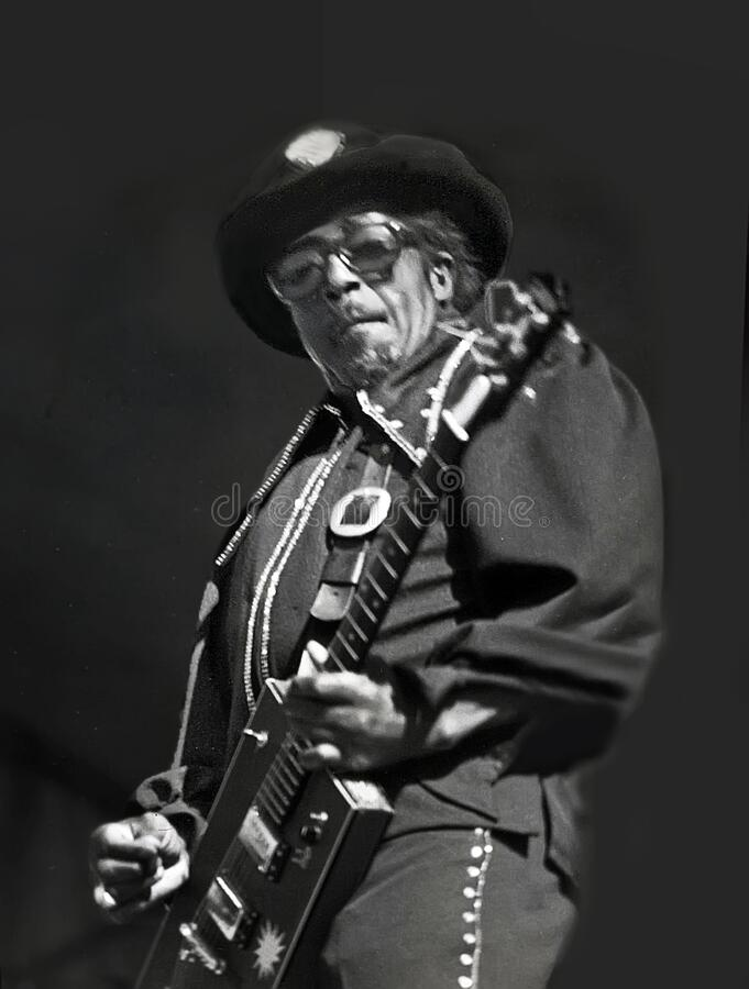 Bo Diddley at 1979 ChicagoFest. Singer, guitarist, songwriter, and music producer Bo Diddley cuts loose at a Rock and Roll Spectacular during ChicagoFest at the royalty free stock photography