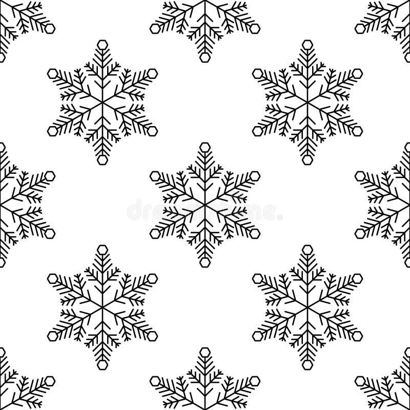 Bo?e Narodzenia, nowego roku bezszwowy wz?r, p?atek ?niegu kreskowa ilustracja Wektorowe ikony zima wakacje, zimny sezonu opad ?n ilustracji