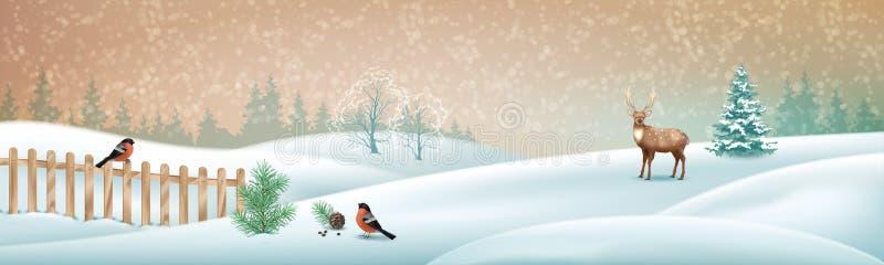Bo?enarodzeniowa zimy scena ilustracji