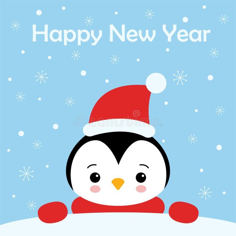 Bo?enarodzeniowy ?liczny Ma?y pingwin z Santa s nakr?tk? Bo?enarodzeniowa ?liczna zwierz?ca posta? z kresk?wki 2007 pozdrowienia  royalty ilustracja