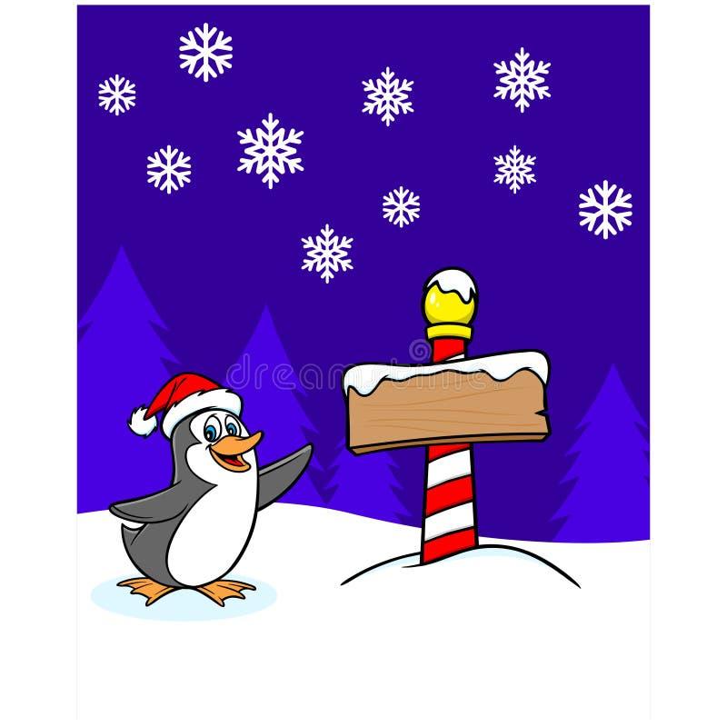 Download Bożenarodzeniowy Pingwin Z Znakiem Ilustracja Wektor - Ilustracja złożonej z wektor, czerwień: 53789775
