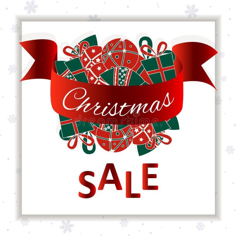 Bo?enarodzeniowy sprzeda? sztandar Christmass piłki na białym płatek śniegu tle Og?lnospo?eczni ?rodki gotowi royalty ilustracja