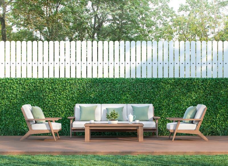 Bo i trädgården 3d som ska framföras vektor illustrationer