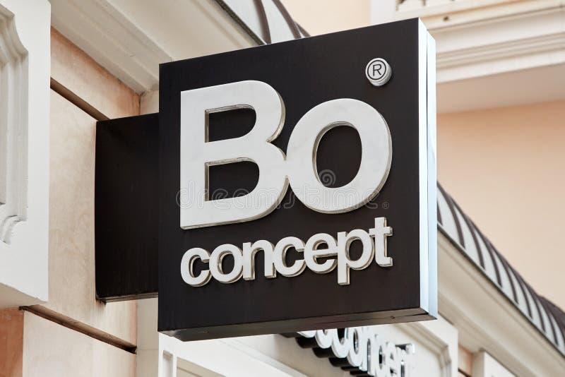 BO-Konzeptmöbel-Entwurfsspeicher unterzeichnen in Monte Carlo, Monaco lizenzfreie stockfotos