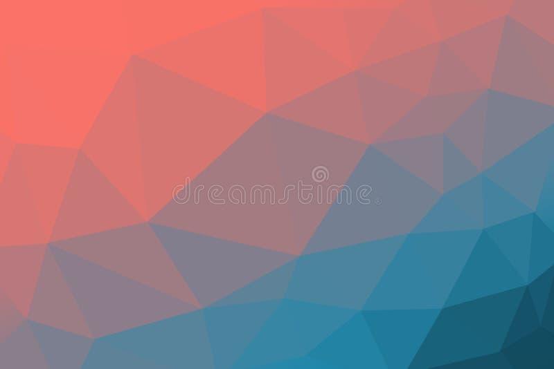 Bo korall - färg av året 2019 och blått Färgad lutningtriangelbakgrund, abstrakt polygonmodell arkivbilder