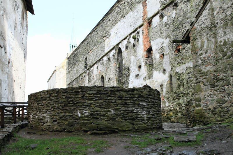 Bo på borggård av slotten Bezdez royaltyfria foton