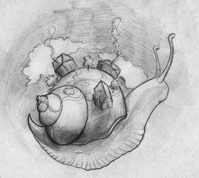 Bo på snigelfarten royaltyfri illustrationer