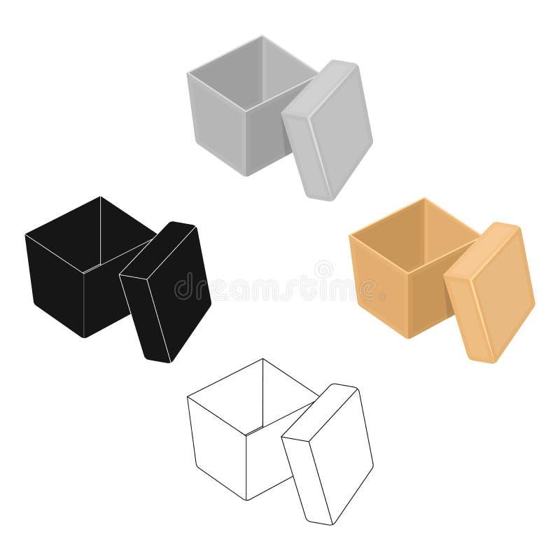 Bo?te, emballage, papier, et toute autre ic?ne de Web dans la bande dessin?e, style noir Shell, cadre, cas, ic?nes dans la collec illustration stock