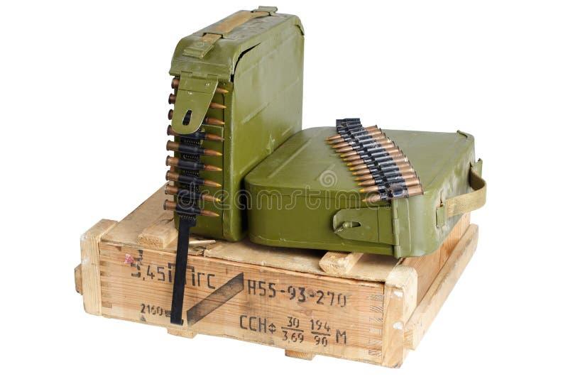 Bo?te sovi?tique de munitions d'arm?e Texte dans russe - type de munitions photo libre de droits
