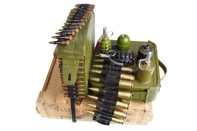 Bo?te sovi?tique de munitions d'arm?e Texte dans russe - type de munitions image libre de droits