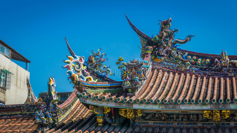 Bo-An Temple Roof Detail. Roof detail for the Buddhist Bo-An Temple in Taipei, Taiwan. Chinese dragons adorn the colorful swallow-tail roof royalty free stock image