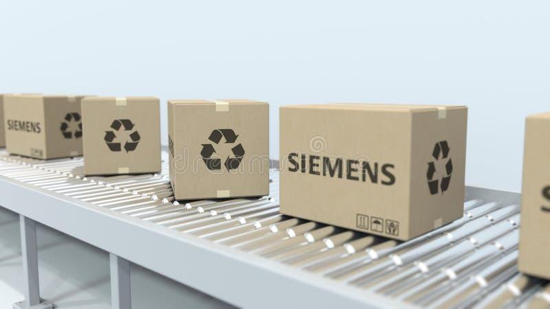 Bo?tes avec le mouvement de logo de SIEMENS sur le convoyeur de rouleau Rendu 3D ?ditorial illustration libre de droits