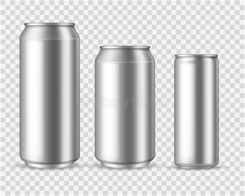 Bo?tes en aluminium r?alistes Emballage métallique vide 300 de jus de l'eau de seltz de bière de boissons de boîte moquerie 330 5 illustration stock