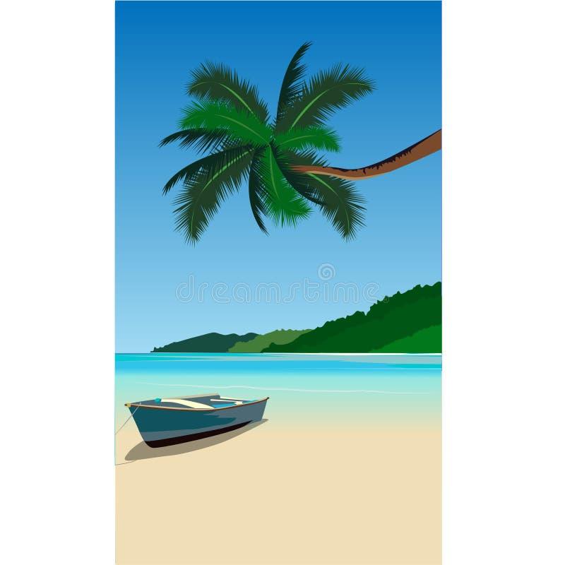 Boa azul de la onda de la orilla de la palmera de la playa de la naturaleza stock de ilustración