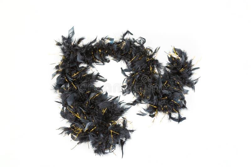 Boa de plume noir avec la tresse d'or photos stock