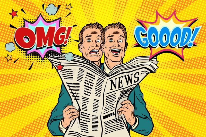 Boa e notícia má do jornal, a reação dos homens ilustração stock