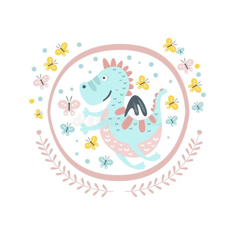 Boa etiqueta de Dragon Fairy Tale Character Girly no quadro redondo ilustração do vetor