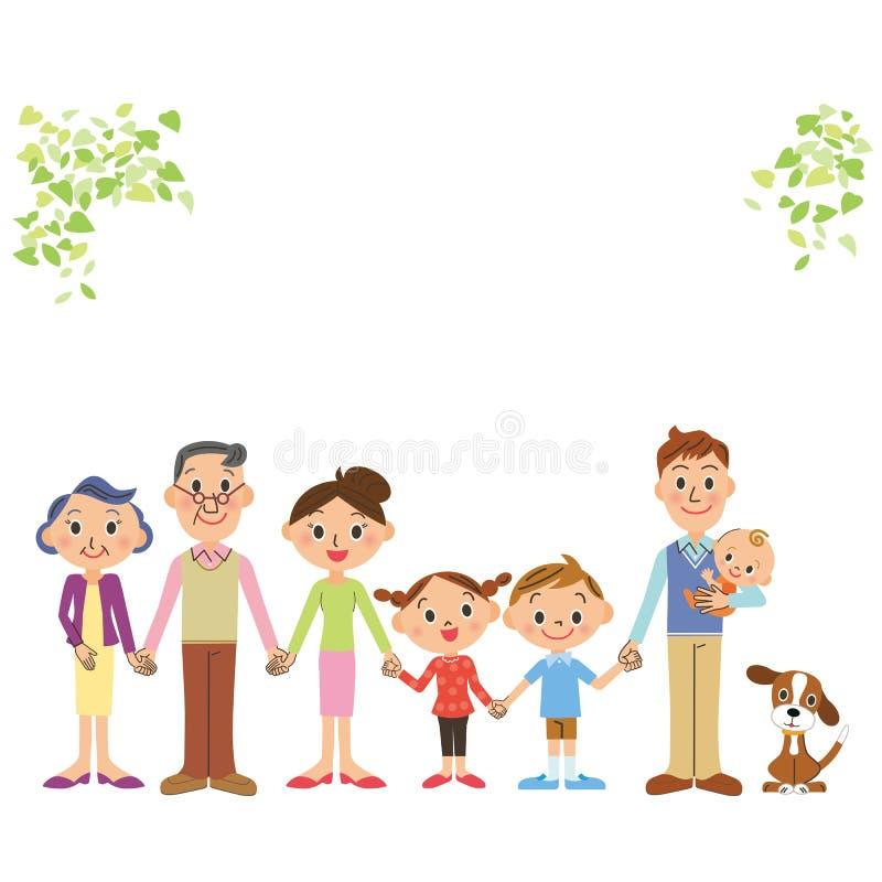A boa família da três-geração do amigo que amarra uma mão ilustração stock