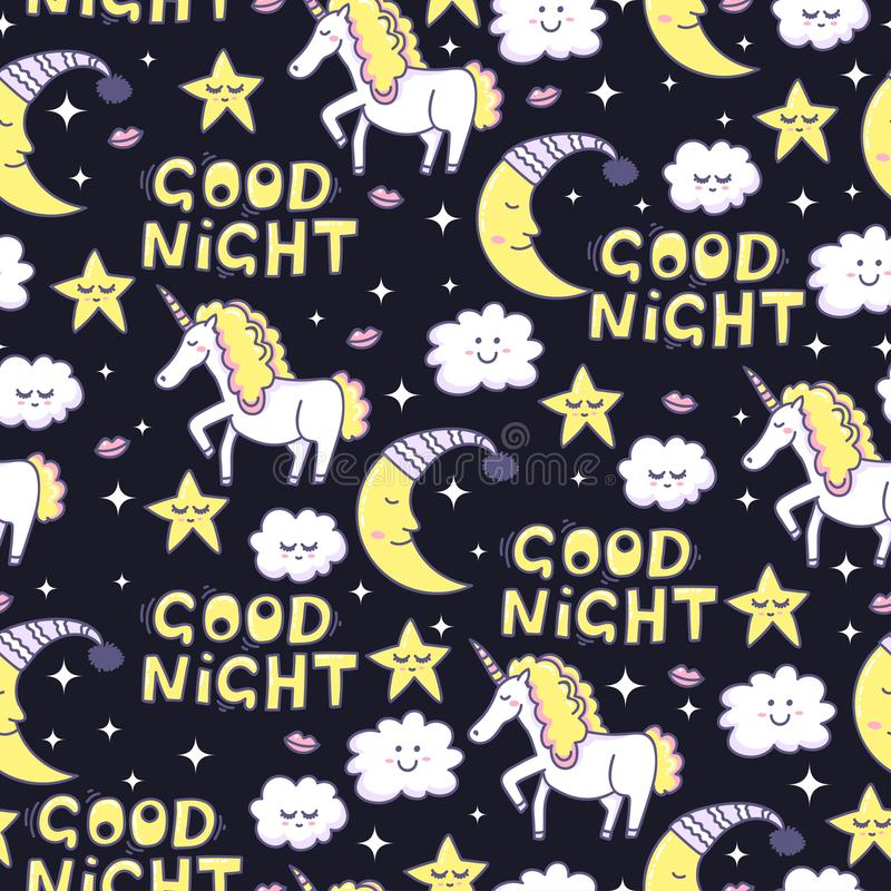 Boa noite Unicórnio mágico e sonhos doces ilustração do vetor