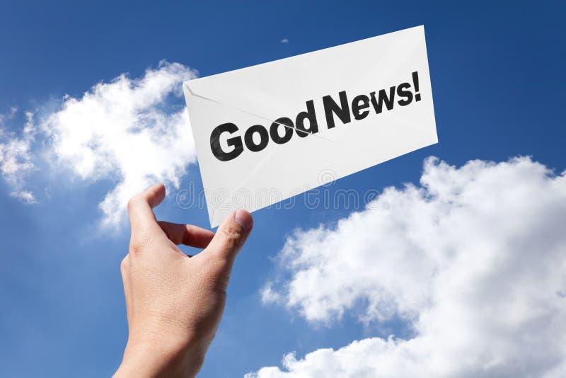 Boa notícia e envelope fotografia de stock