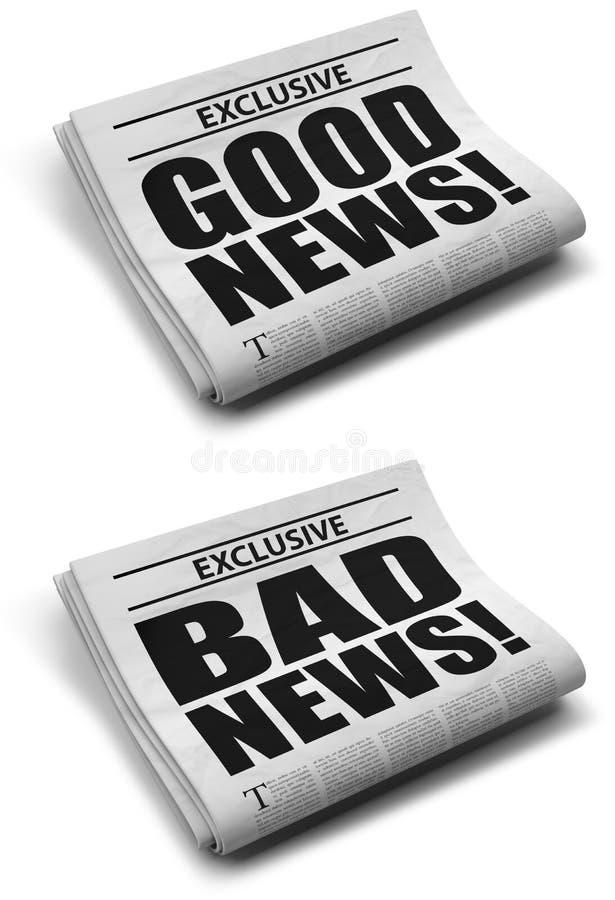Boa notícia e notícia ruim ilustração do vetor
