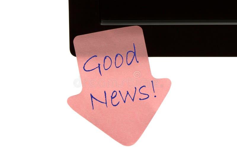 Boa notícia na nota pegajosa imagens de stock royalty free