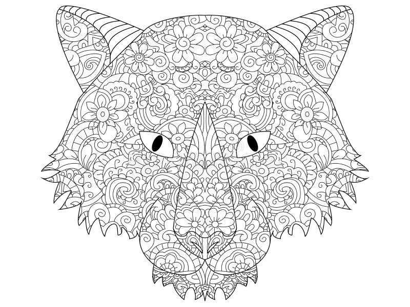 Boa quadriculação da coloração da cabeça do lobo para adultos ilustração do vetor
