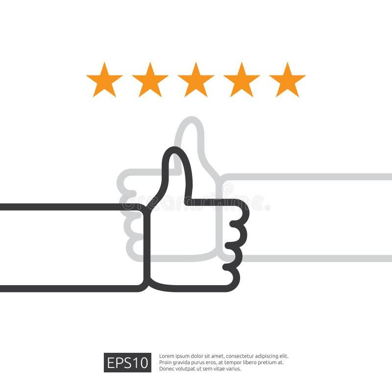 boa revis?o positiva com o polegar da m?o acima do s?mbolo em meios sociais servi?o de cinco estrelas ou opini?o da recomenda??o  ilustração royalty free