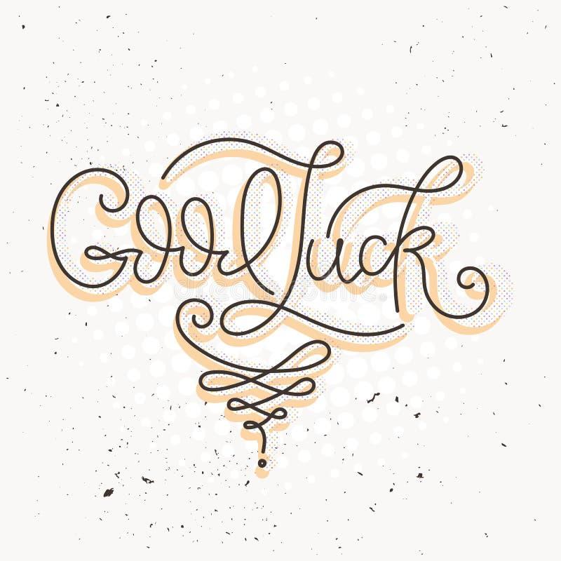Boa sorte Mão tirada rotulando a tipografia Logotype da fortuna, crachá, cartaz, logotipo, etiqueta, t-shirt ilustração royalty free