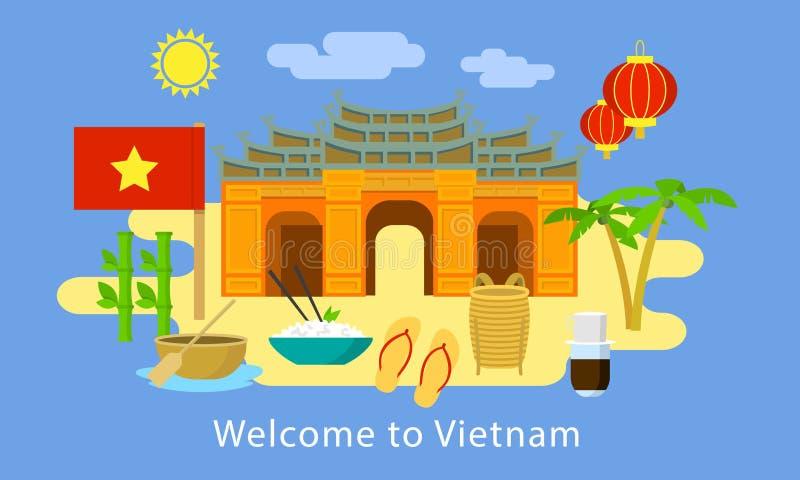 Boa vinda à bandeira do conceito de Vietname, estilo liso ilustração do vetor