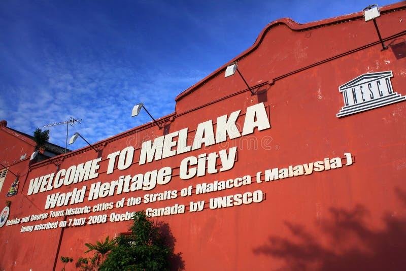 Boa vinda à cidade do património mundial de Melaka imagem de stock