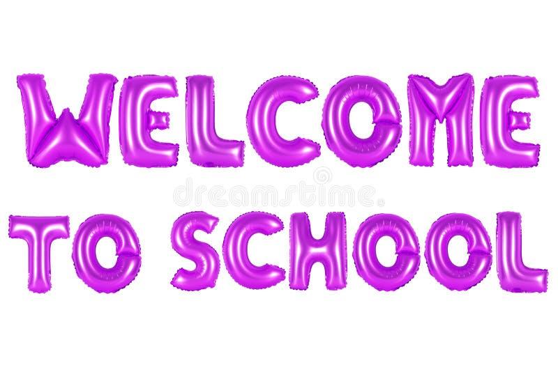 Boa vinda à escola, cor roxa fotos de stock