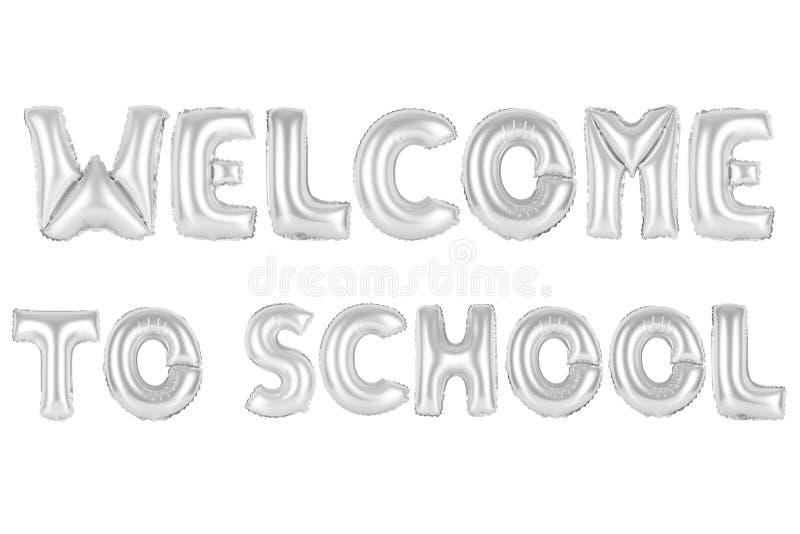 A boa vinda à escola, croma a cor cinzenta fotos de stock
