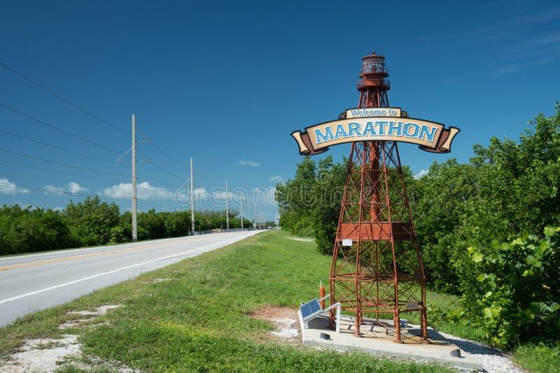 Boa vinda à maratona, Florida imagens de stock royalty free