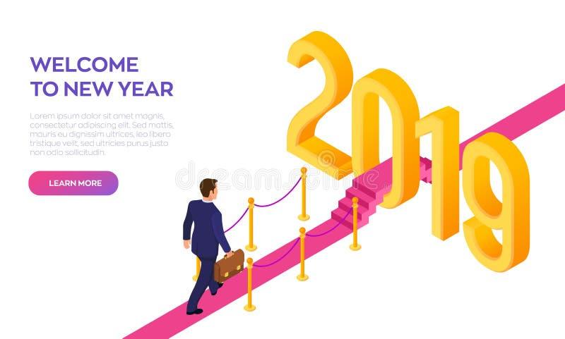 Boa vinda 2019 Ano novo Trajeto ao ano novo Homem de negócios com pasta à disposição que anda no tapete vermelho aos 2019 anos no ilustração do vetor