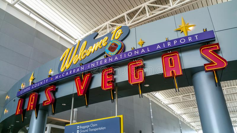 Boa vinda ao aeroporto de Las Vegas - LAS VEGAS/NEVADA - 20 de outubro de 2017 foto de stock