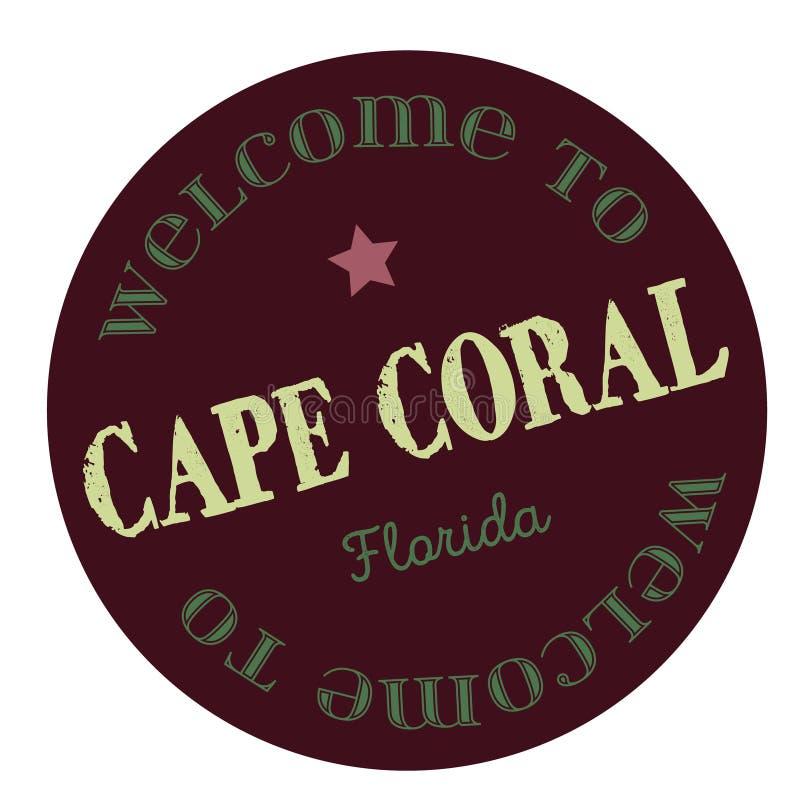 Boa vinda ao cabo Coral Florida ilustração stock