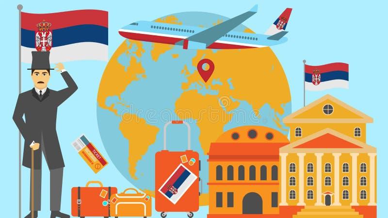 Boa vinda ao cartão da Sérvia Conceito do curso e do safari da ilustração do vetor do mapa do mundo de Europa com bandeira nacion ilustração stock