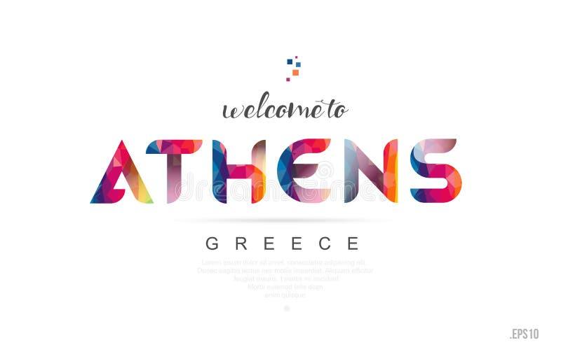 Boa vinda ao cartão de Atenas greece e ao ícone da tipografia do projeto de letra ilustração stock