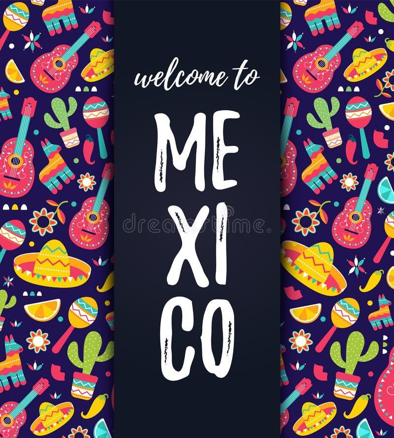 Boa vinda ao cartão de México Cinco de Mayo Mexican Pattern, impressão da forma Cópia do t-shirt de símbolos étnicos com maracas ilustração do vetor