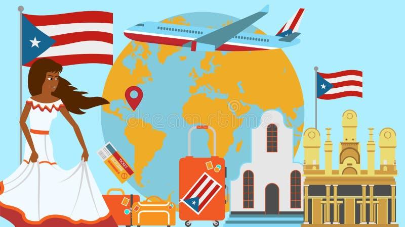 Boa vinda ao cartão de Porto Rico Conceito do curso e da viagem da ilustração do vetor do país dos Latinos com a bandeira naciona ilustração royalty free