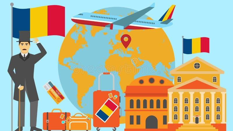 Boa vinda ao cartão de Romênia Conceito do curso e do safari da ilustração do vetor do mapa do mundo de Europa com bandeira nacio ilustração royalty free