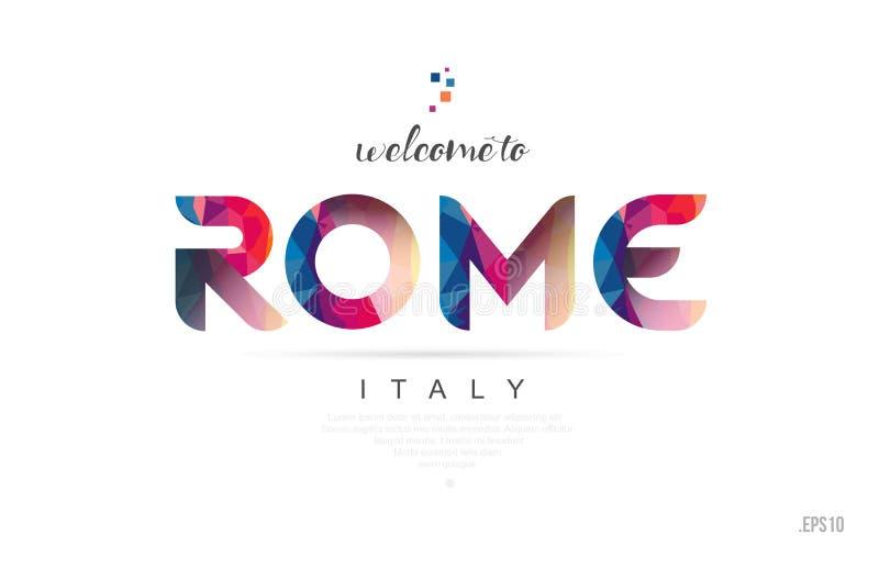 Boa vinda ao cartão de Roma Italia e ao ícone da tipografia do projeto de letra ilustração do vetor