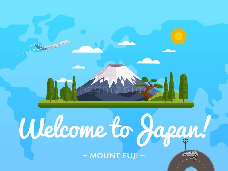 Boa vinda ao cartaz de Japão com atração famosa ilustração do vetor