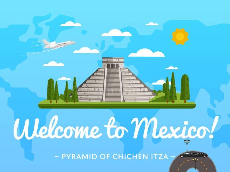 Boa vinda ao cartaz de México com atração famosa ilustração do vetor