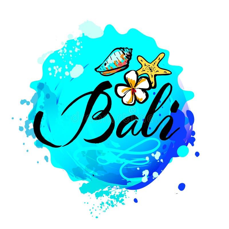 Boa vinda ao conceito de Bali no estilo do gráfico do vintage ilustração stock