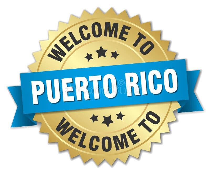 boa vinda ao crachá de Porto Rico ilustração royalty free