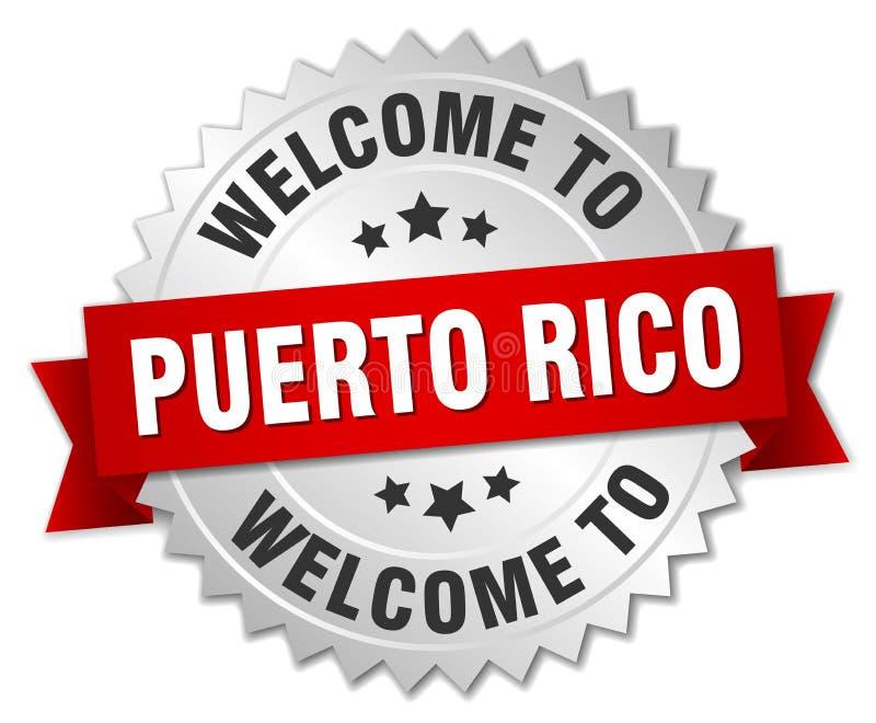 boa vinda ao crachá de Porto Rico ilustração do vetor