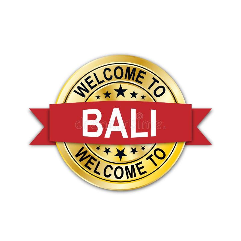 Boa vinda ao emblema do selo da medalha de ouro de bali ilustração royalty free