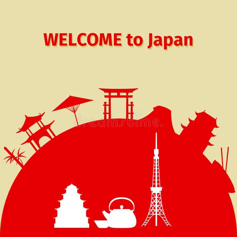 Boa vinda ao fundo do curso de Japão ilustração stock